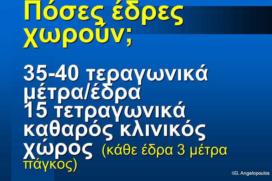  G. Angelopoulos Πόσες έδρες χωρούν; 35-40 τεραγωνικά μέτρα/έδρα 15 τετραγωνικά καθαρός κλινικός χώρος (κάθε έδρα 3 μέτρα πάγκος)