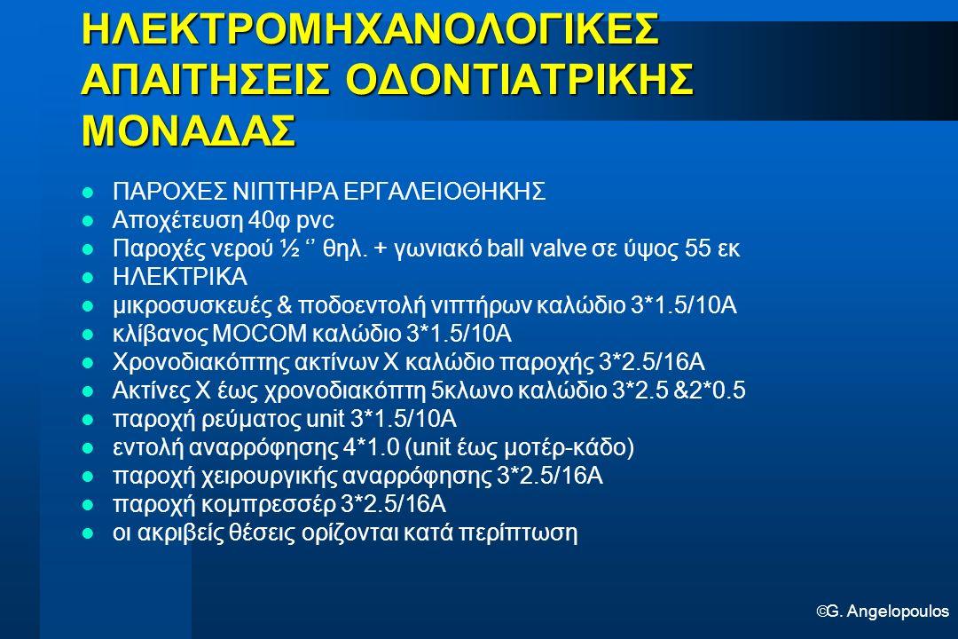  G. Angelopoulos ΗΛΕΚΤΡΟΜΗΧΑΝΟΛΟΓΙΚΕΣ ΑΠΑΙΤΗΣΕΙΣ ΟΔΟΝΤΙΑΤΡΙΚΗΣ ΜΟΝΑΔΑΣ ΠΑΡΟΧΕΣ ΝΙΠΤΗΡΑ ΕΡΓΑΛΕΙΟΘΗΚΗΣ Αποχέτευση 40φ pvc Παροχές νερού ½ '' θηλ. + γων