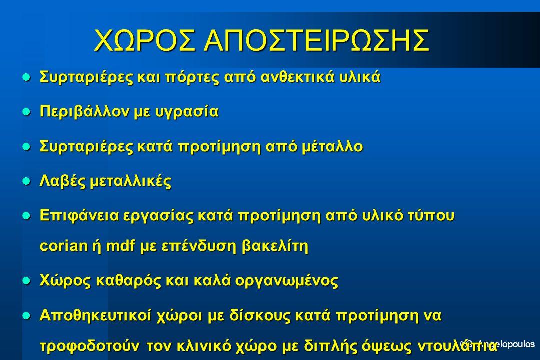  G. Angelopoulos ΧΩΡΟΣ ΑΠΟΣΤΕΙΡΩΣΗΣ Συρταριέρες και πόρτες από ανθεκτικά υλικά Συρταριέρες και πόρτες από ανθεκτικά υλικά Περιβάλλον με υγρασία Περιβ