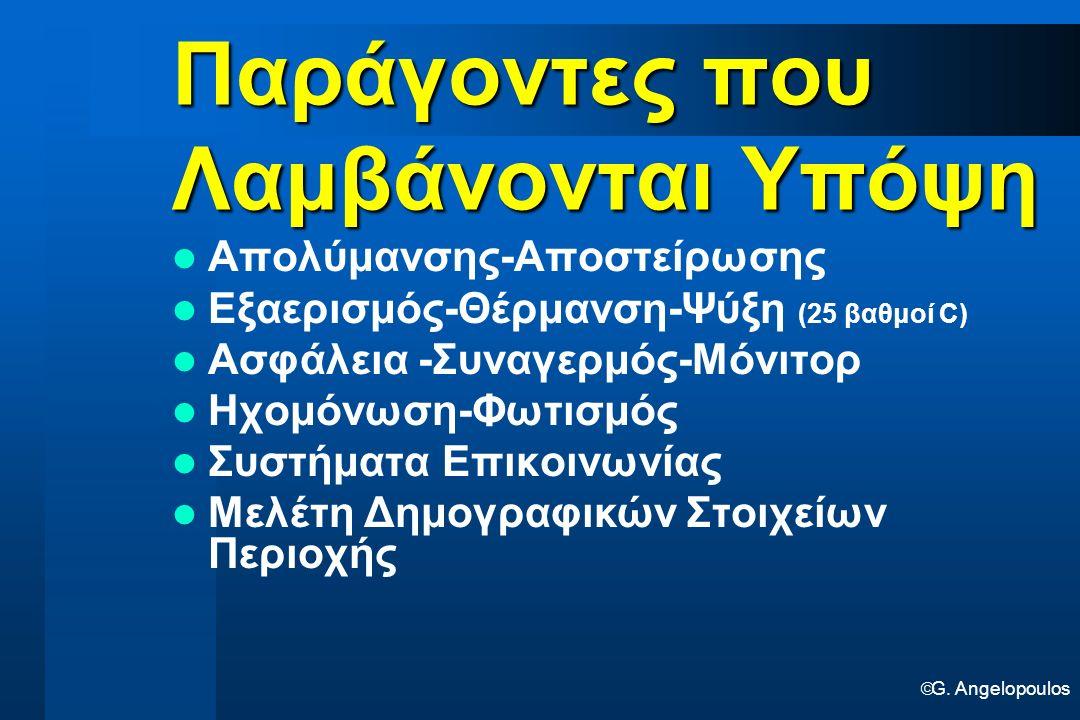  G. Angelopoulos Παράγοντες που Λαμβάνονται Υπόψη Απολύμανσης-Αποστείρωσης Εξαερισμός-Θέρμανση-Ψύξη (25 βαθμοί C) Ασφάλεια -Συναγερμός-Μόνιτορ Ηχομόν