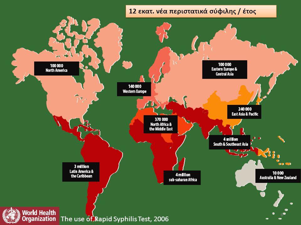 12 εκατ. νέα περιστατικά σύφιλης / έτος The use of Rapid Syphilis Test, 2006 6