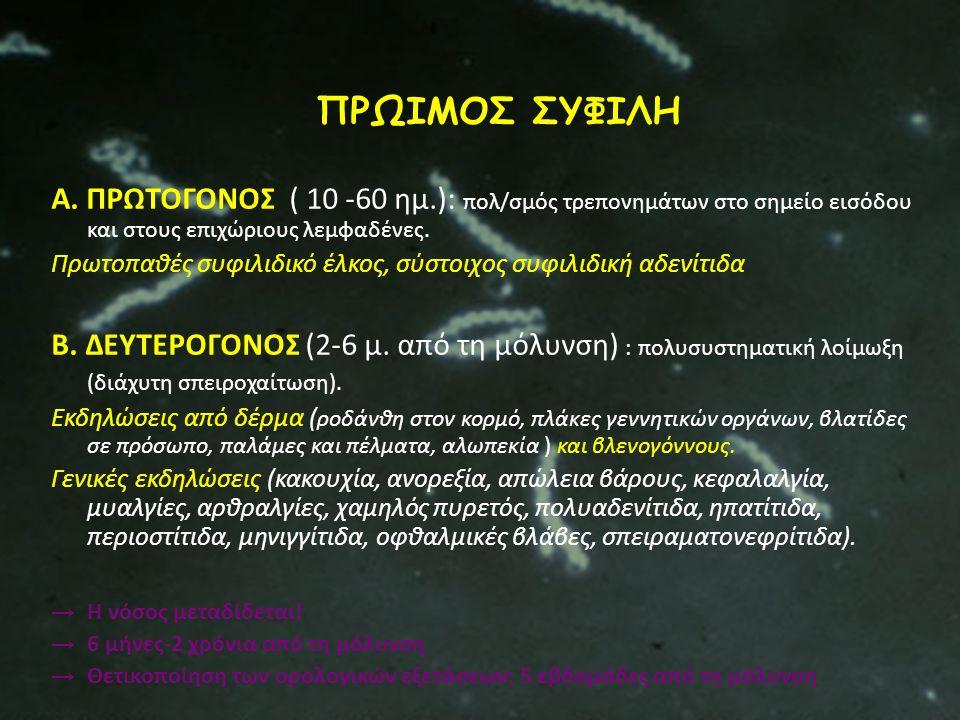 ΠΡΩΙΜΟΣ ΣΥΦΙΛΗ Α. ΠΡΩΤΟΓΟΝΟΣ ( 10 -60 ημ.): πολ/σμός τρεπονημάτων στο σημείο εισόδου και στους επιχώριους λεμφαδένες. Πρωτοπαθές συφιλιδικό έλκος, σύσ