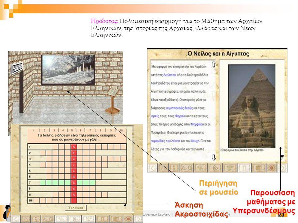 Επιμόρφωση Εκπαιδευτικών Πληροφορικής | Ενότητα Γ1 (Οι ΤΠΕ στο Ελληνικό Σχολείο) | Μέρος Γ (Εκπαιδευτικό Λογισμικό) 23 Ηρόδοτος: Πολυμεσική εφαρμογή γ