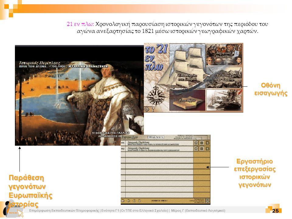 Επιμόρφωση Εκπαιδευτικών Πληροφορικής | Ενότητα Γ1 (Οι ΤΠΕ στο Ελληνικό Σχολείο) | Μέρος Γ (Εκπαιδευτικό Λογισμικό) 25 21 εν πλω: Χρονολογική παρουσία