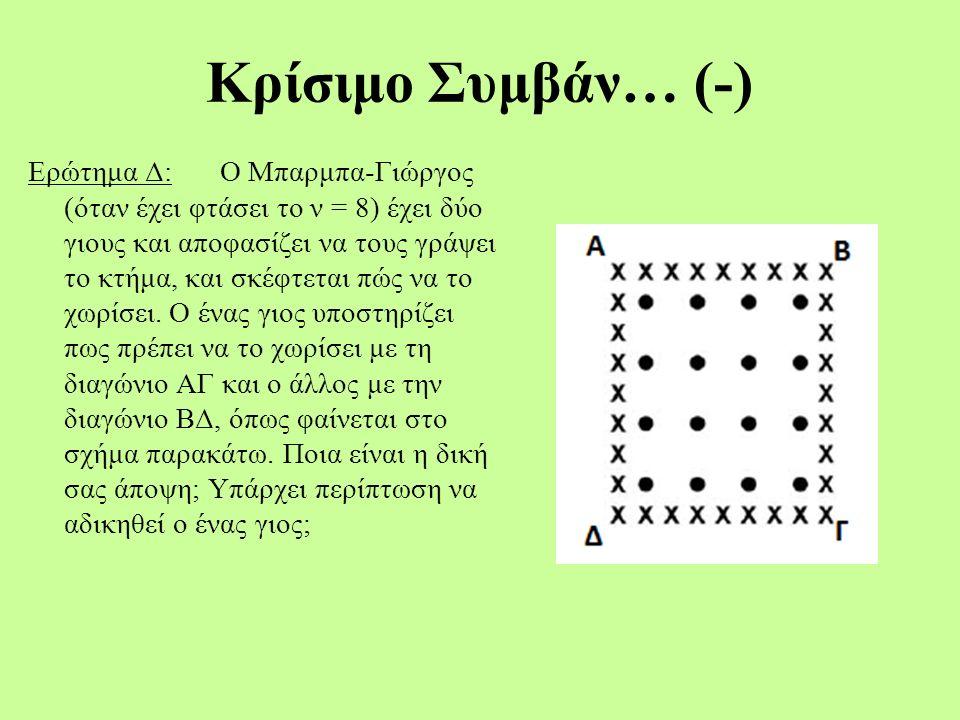Κρίσιμο Συμβάν… (-) Ερώτημα Δ:Ο Μπαρμπα-Γιώργος (όταν έχει φτάσει το ν = 8) έχει δύο γιους και αποφασίζει να τους γράψει το κτήμα, και σκέφτεται πώς να το χωρίσει.