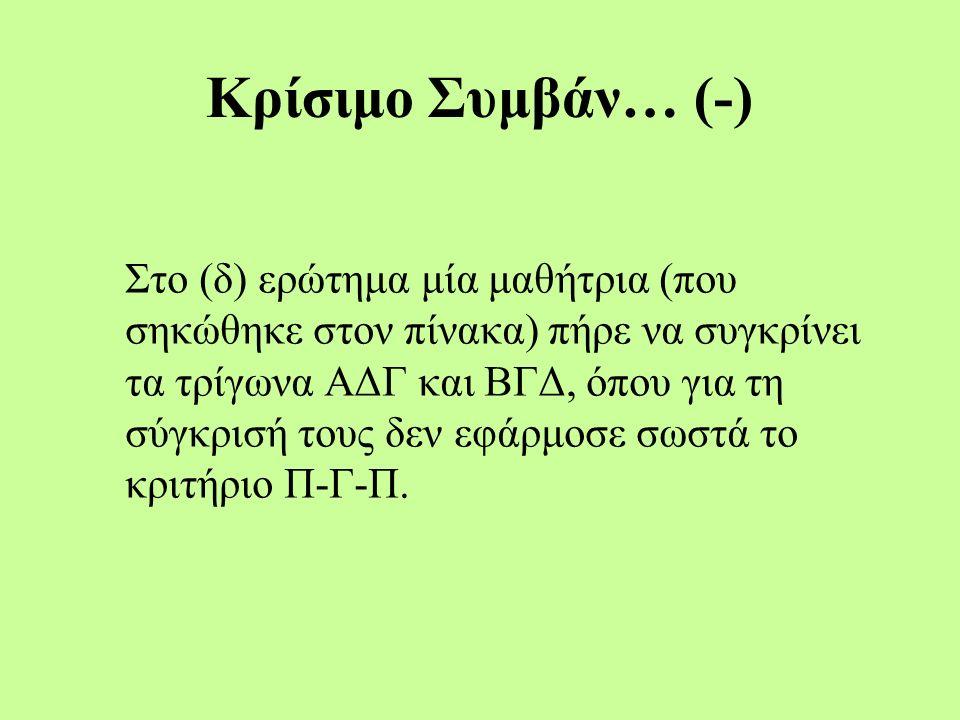 Κρίσιμο Συμβάν… (-) Στο (δ) ερώτημα μία μαθήτρια (που σηκώθηκε στον πίνακα) πήρε να συγκρίνει τα τρίγωνα ΑΔΓ και ΒΓΔ, όπου για τη σύγκρισή τους δεν εφάρμοσε σωστά το κριτήριο Π-Γ-Π.