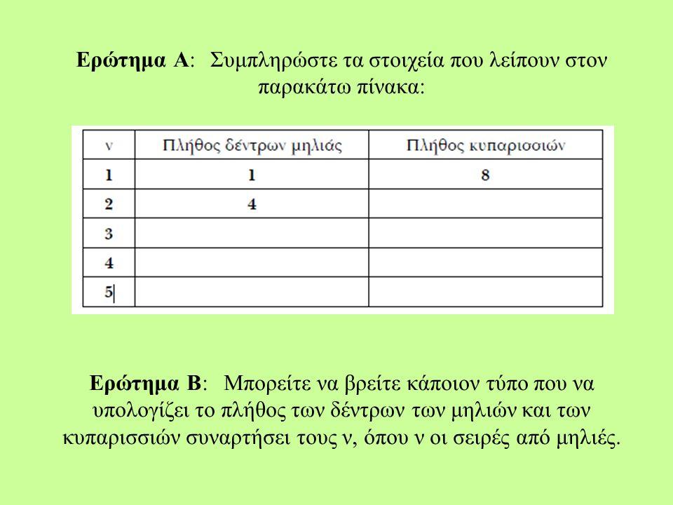 Ερώτημα Α:Συμπληρώστε τα στοιχεία που λείπουν στον παρακάτω πίνακα: Ερώτημα Β:Μπορείτε να βρείτε κάποιον τύπο που να υπολογίζει το πλήθος των δέντρων των μηλιών και των κυπαρισσιών συναρτήσει τους ν, όπου ν οι σειρές από μηλιές.
