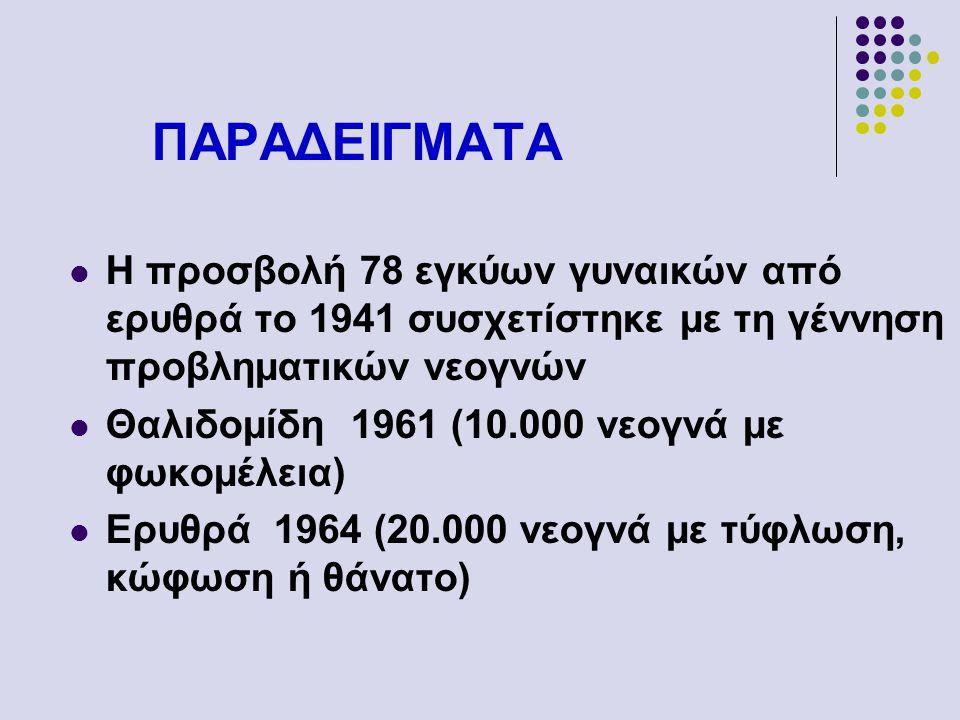 ΠΑΡΑΔΕΙΓΜΑΤΑ Η προσβολή 78 εγκύων γυναικών από ερυθρά το 1941 συσχετίστηκε με τη γέννηση προβληματικών νεογνών Θαλιδομίδη 1961 (10.000 νεογνά με φωκομ