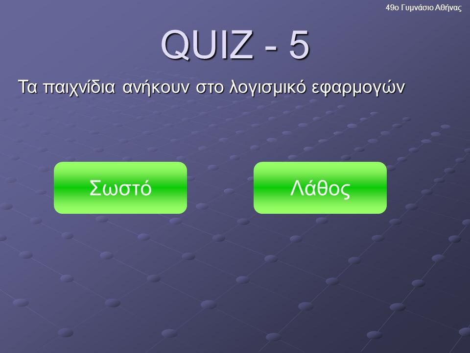 Πολύ σωστά! Η επεξεργασία εικόνας είναι μέρος του λογισμικού εφαρμογών. 49ο Γυμνάσιο Αθήνας Επόμενη ερώτηση
