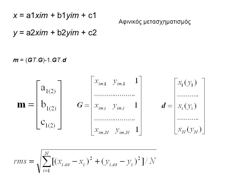 x = a1xim + b1yim + c1 y = a2xim + b2yim + c2 Αφινικός μετασχηματισμός m = (GT.G)-1.GT.d