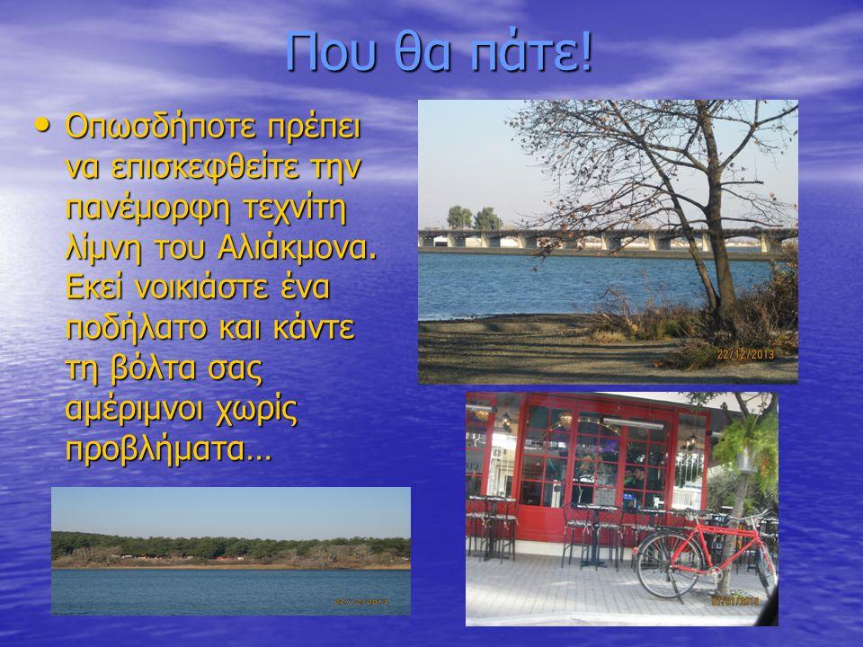 Που θα πάτε! Οπωσδήποτε πρέπει να επισκεφθείτε την πανέμορφη τεχνίτη λίμνη του Αλιάκμονα. Εκεί νοικιάστε ένα ποδήλατο και κάντε τη βόλτα σας αμέριμνοι