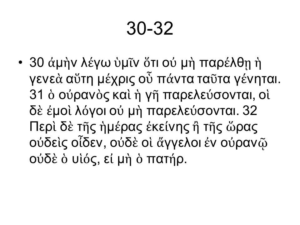 30-32 30 ἀ μ ὴ ν λ έ γω ὑ μ ῖ ν ὅ τι ο ὐ μ ὴ παρ έ λθ ῃ ἡ γενε ὰ α ὕ τη μ έ χρις ο ὗ π ά ντα τα ῦ τα γ έ νηται.