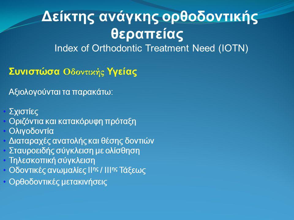 Δείκτης ανάγκης ορθοδοντικής θεραπείας Index of Orthodontic Treatment Need (IOTN) Συνιστώσα Οδοντικής Υγείας Αξιολογούνται τα παρακάτω: Σχιστίες Οριζό