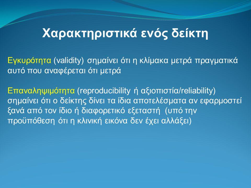Χαρακτηριστικά ενός δείκτη Εγκυρότητα (validity) σημαίνει ότι η κλίμακα μετρά πραγματικά αυτό που αναφέρεται ότι μετρά Επαναληψιμότητα (reproducibilit