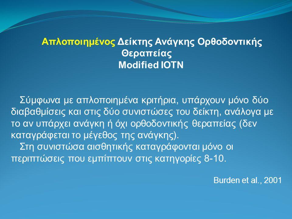 Απλοποιημένος Δείκτης Ανάγκης Ορθοδοντικής Θεραπείας Modified IOTN Σύμφωνα με απλοποιημένα κριτήρια, υπάρχουν μόνο δύο διαβαθμίσεις και στις δύο συνιστώσες του δείκτη, ανάλογα με το αν υπάρχει ανάγκη ή όχι ορθοδοντικής θεραπείας (δεν καταγράφεται το μέγεθος της ανάγκης).