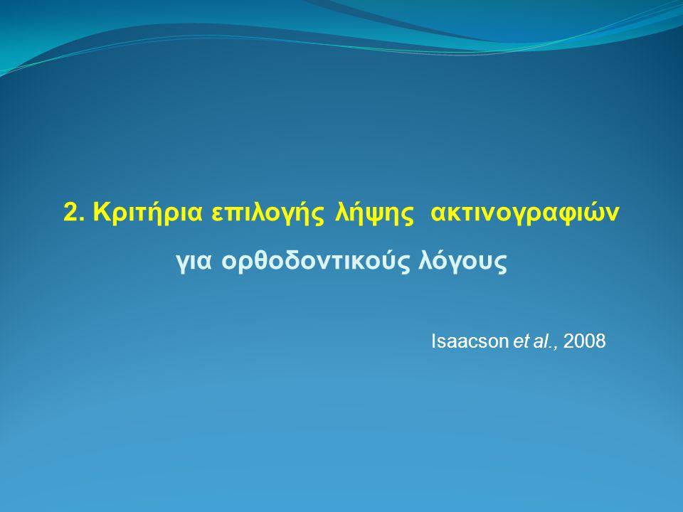 2. Κριτήρια επιλογής λήψης ακτινογραφιών για ορθοδοντικούς λόγους Isaacson et al., 2008