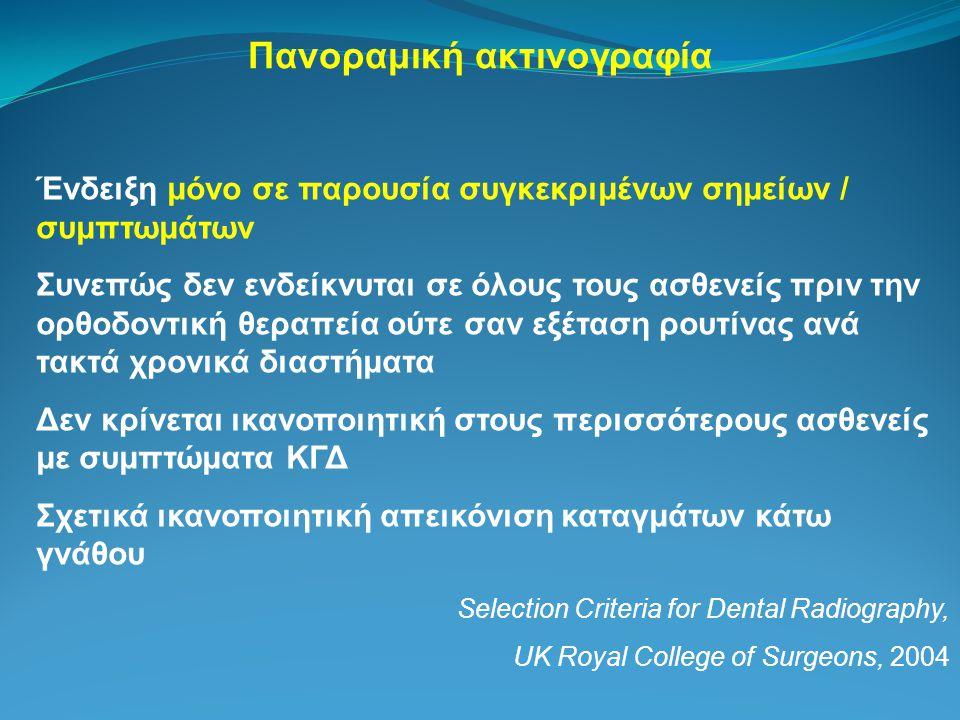 Πανοραμική ακτινογραφία Ένδειξη μόνο σε παρουσία συγκεκριμένων σημείων / συμπτωμάτων Συνεπώς δεν ενδείκνυται σε όλους τους ασθενείς πριν την ορθοδοντική θεραπεία ούτε σαν εξέταση ρουτίνας ανά τακτά χρονικά διαστήματα Δεν κρίνεται ικανοποιητική στους περισσότερους ασθενείς με συμπτώματα ΚΓΔ Σχετικά ικανοποιητική απεικόνιση καταγμάτων κάτω γνάθου Selection Criteria for Dental Radiography, UK Royal College of Surgeons, 2004