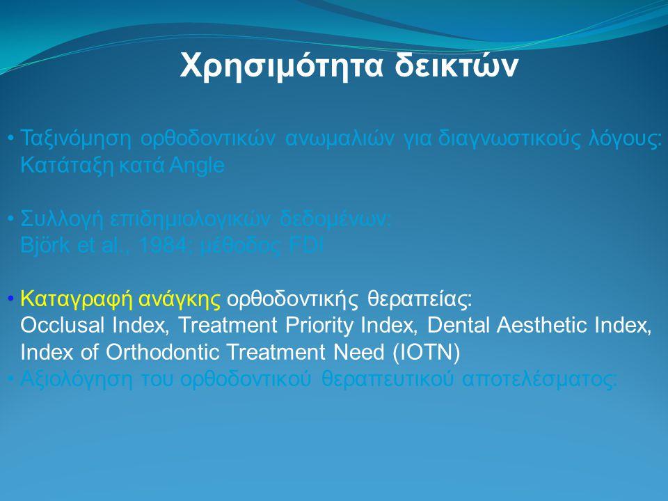 Χρησιμότητα δεικτών Ταξινόμηση ορθοδοντικών ανωμαλιών για διαγνωστικούς λόγους: Κατάταξη κατά Angle Συλλογή επιδημιολογικών δεδομένων: Björk et al., 1984; μέθοδος FDI Καταγραφή ανάγκης ορθοδοντικής θεραπείας: Occlusal Index, Treatment Priority Index, Dental Aesthetic Index, Index of Orthodontic Treatment Need (IOTN) Αξιολόγηση του ορθοδοντικού θεραπευτικού αποτελέσματος: