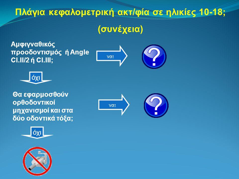 Πλάγια κεφαλομετρική ακτ/φία σε ηλικίες 10-18; (συνέχεια) Αμφιγναθικός προοδοντισμός ή Angle Cl.II/2 ή Cl.III; ναι Θα εφαρμοσθούν ορθοδοντικοί μηχανισμοί και στα δύο οδοντικά τόξα; όχι