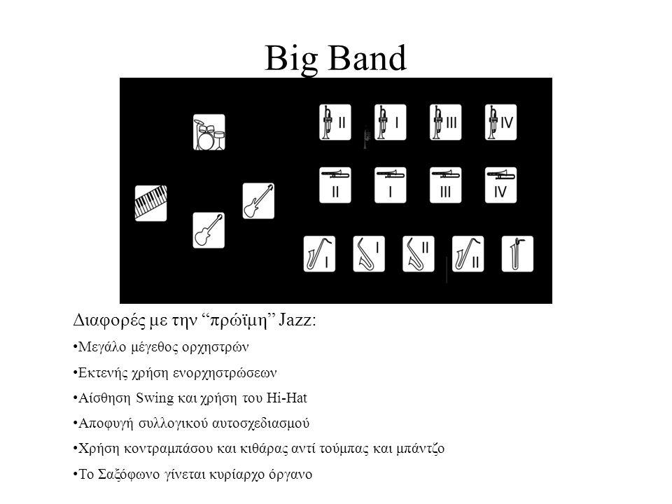 Big Band Διαφορές με την πρώϊμη Jazz: Μεγάλο μέγεθος ορχηστρών Εκτενής χρήση ενορχηστρώσεων Αίσθηση Swing και χρήση του Hi-Hat Αποφυγή συλλογικού αυτοσχεδιασμού Χρήση κοντραμπάσου και κιθάρας αντί τούμπας και μπάντζο Το Σαξόφωνο γίνεται κυρίαρχο όργανο