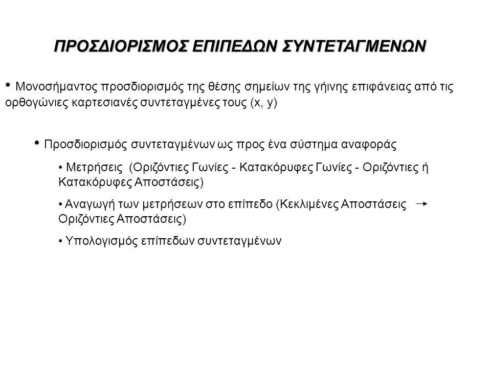 ΠΡΟΣΔΙΟΡΙΣΜΟΣ ΕΠΙΠΕΔΩΝ ΣΥΝΤΕΤΑΓΜΕΝΩΝ Μονοσήμαντος προσδιορισμός της θέσης σημείων της γήινης επιφάνειας από τις ορθογώνιες καρτεσιανές συντεταγμένες τους (x, y) Προσδιορισμός συντεταγμένων ως προς ένα σύστημα αναφοράς Μετρήσεις (Οριζόντιες Γωνίες - Κατακόρυφες Γωνίες - Οριζόντιες ή Κατακόρυφες Αποστάσεις) Αναγωγή των μετρήσεων στο επίπεδο (Κεκλιμένες Αποστάσεις Οριζόντιες Αποστάσεις) Υπολογισμός επίπεδων συντεταγμένων
