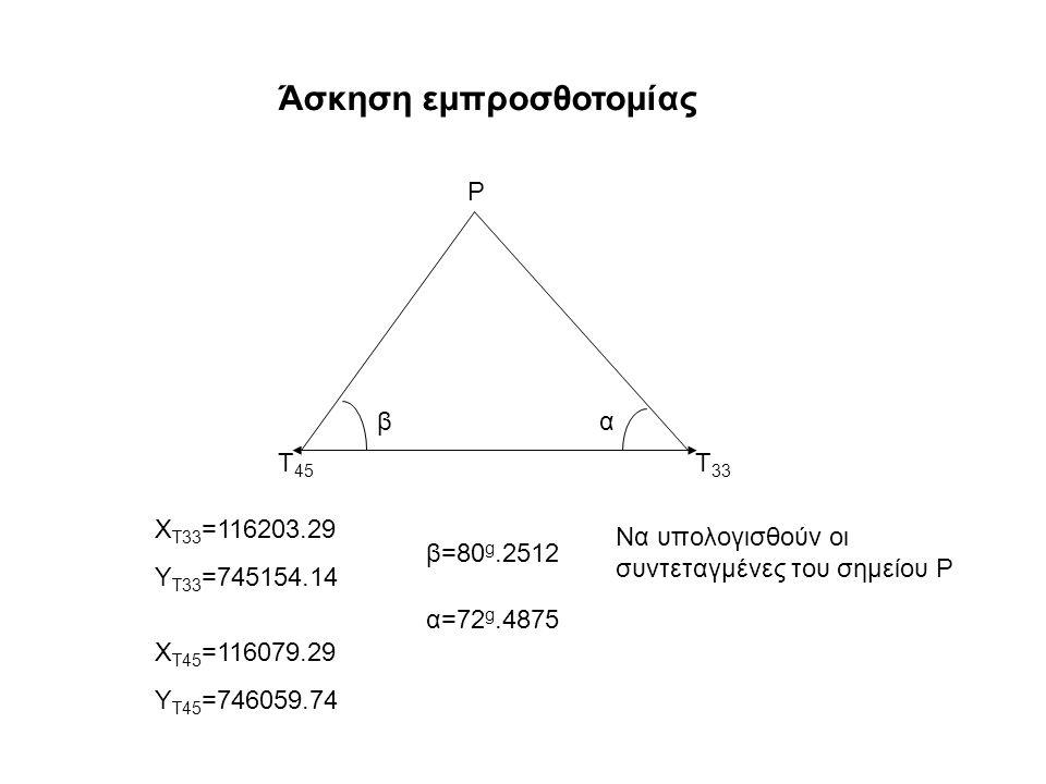 Ρ Τ 45 Τ 33 βα Χ Τ33 =116203.29 Υ Τ33 =745154.14 Χ Τ45 =116079.29 Υ Τ45 =746059.74 β=80 g.2512 α=72 g.4875 Να υπολογισθούν οι συντεταγμένες του σημείου Ρ Άσκηση εμπροσθοτομίας