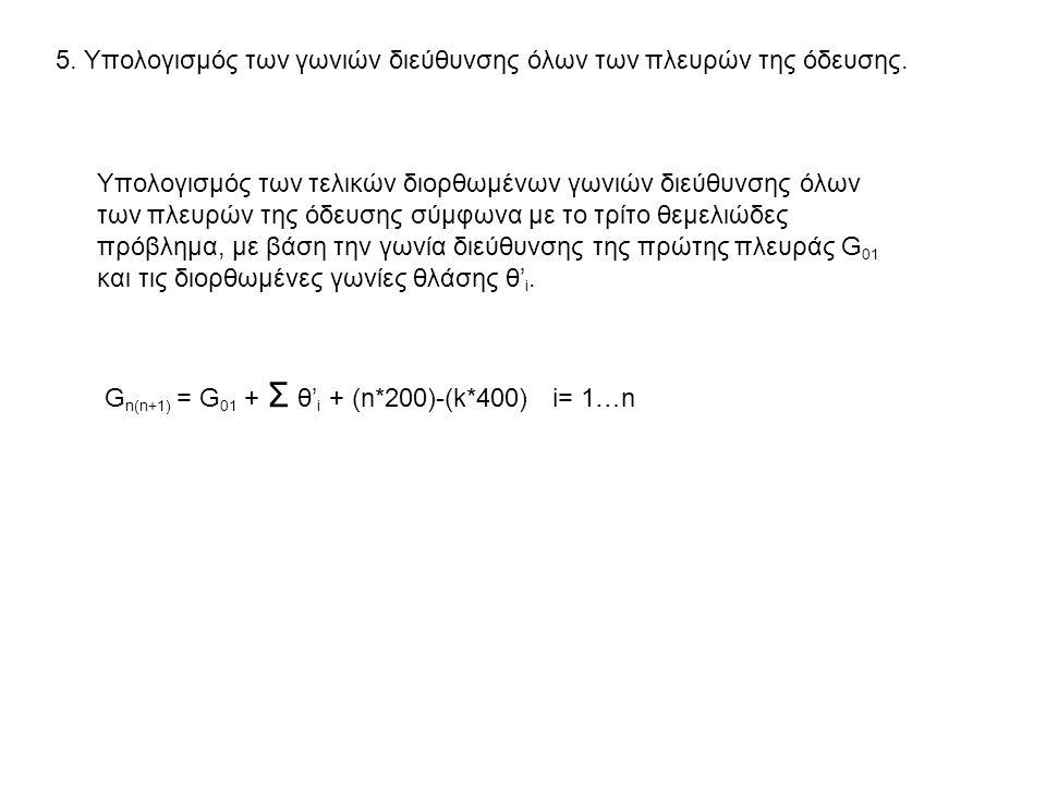 5.Υπολογισμός των γωνιών διεύθυνσης όλων των πλευρών της όδευσης.
