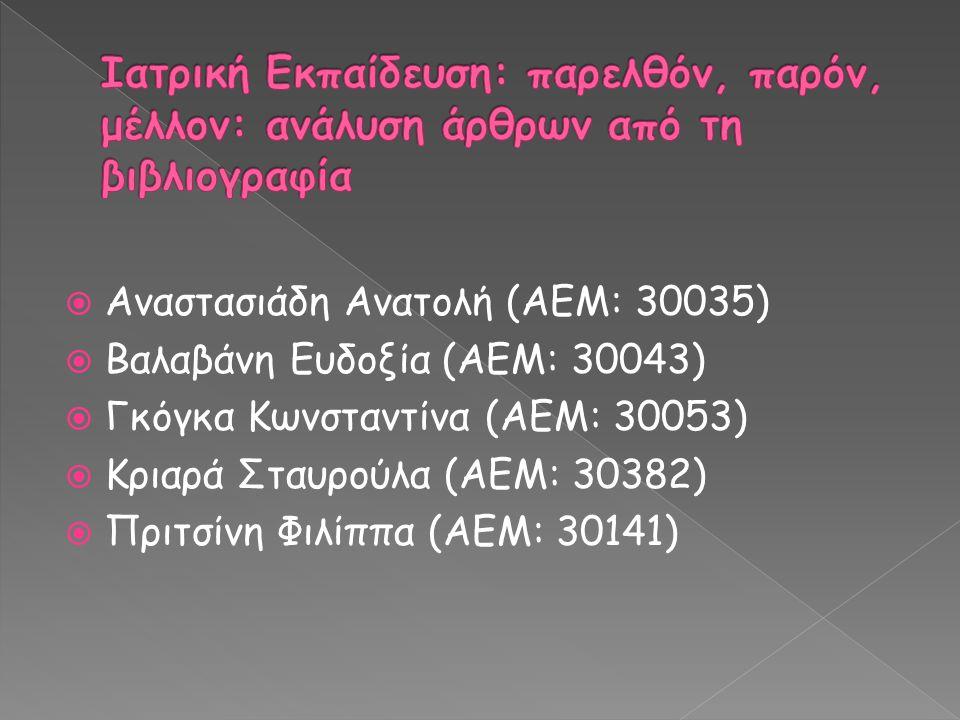  Αναστασιάδη Ανατολή (ΑΕΜ: 30035)  Βαλαβάνη Ευδοξία (ΑΕΜ: 30043)  Γκόγκα Κωνσταντίνα (ΑΕΜ: 30053)  Κριαρά Σταυρούλα (ΑΕΜ: 30382)  Πριτσίνη Φιλίππα (ΑΕΜ: 30141)