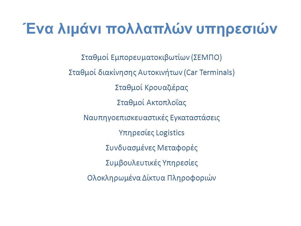Σταθμοί Εμπορευματοκιβωτίων (ΣΕΜΠΟ) Σταθμοί διακίνησης Αυτοκινήτων (Car Terminals) Σταθμοί Κρουαζιέρας Σταθμοί Ακτοπλοΐας Ναυπηγοεπισκευαστικές Εγκατα