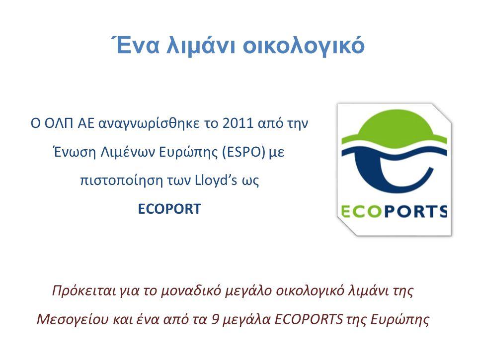 Ο ΟΛΠ ΑΕ αναγνωρίσθηκε το 2011 από την Ένωση Λιμένων Ευρώπης (ESPO) με πιστοποίηση των Lloyd's ως ECOPORT Πρόκειται για το μοναδικό μεγάλο οικολογικό