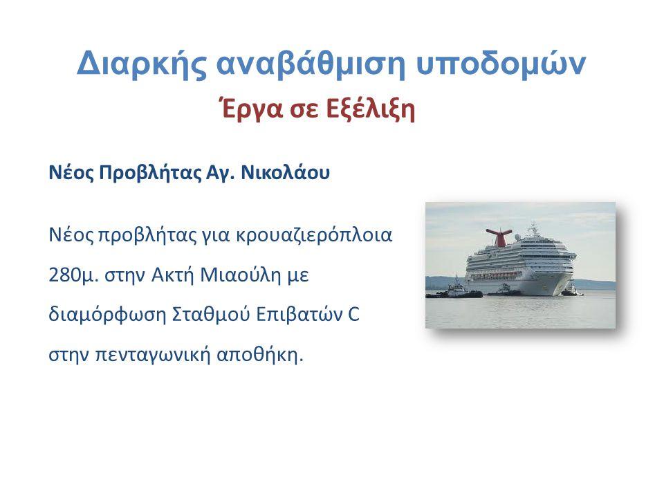 Νέος Προβλήτας Αγ. Νικολάου Νέος προβλήτας για κρουαζιερόπλοια 280μ. στην Ακτή Μιαούλη με διαμόρφωση Σταθμού Επιβατών C στην πενταγωνική αποθήκη. Έργα
