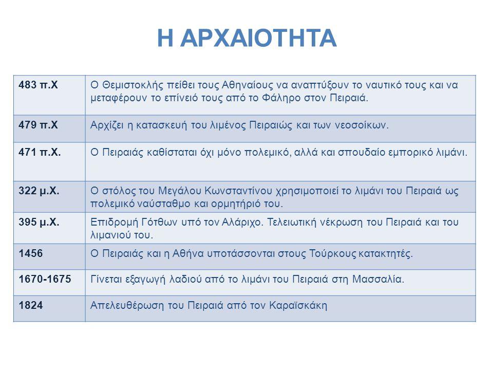 Η ΑΡΧΑΙΟΤΗΤΑ 483 π.ΧΟ Θεμιστοκλής πείθει τους Αθηναίους να αναπτύξουν το ναυτικό τους και να μεταφέρουν το επίνειό τους από το Φάληρο στον Πειραιά. 47