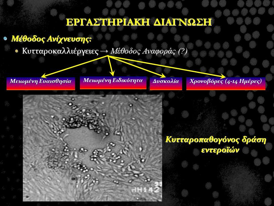 Μέθοδος Ανίχνευσης: Μέθοδος Ανίχνευσης: Κυτταροκαλλιέργειες → Μέθοδος Αναφοράς (?) Κυτταροκαλλιέργειες → Μέθοδος Αναφοράς (?) Κυτταροπαθογόνος δράση ε