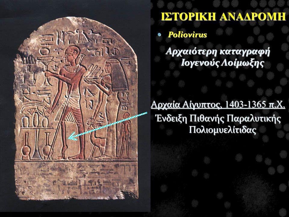 Aρχαιότερη καταγραφή Ιογενούς Λοίμωξης Αρχαία Αίγυπτος, 1403-1365 π.Χ. Ένδειξη Πιθανής Παραλυτικής Πολιομυελίτιδας ΙΣΤΟΡΙΚΗ ΑΝΑΔΡΟΜΗ Poliovirus Poliov