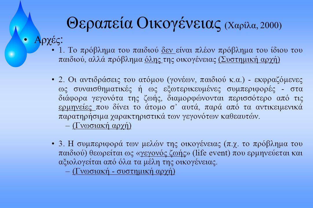 Θεραπεία Οικογένειας (Χαρίλα, 2000) Αρχές : 1. Το πρόβλημα του παιδιού δεν είναι πλέον πρόβλημα του ίδιου του παιδιού, αλλά πρόβλημα όλης της οικογένε