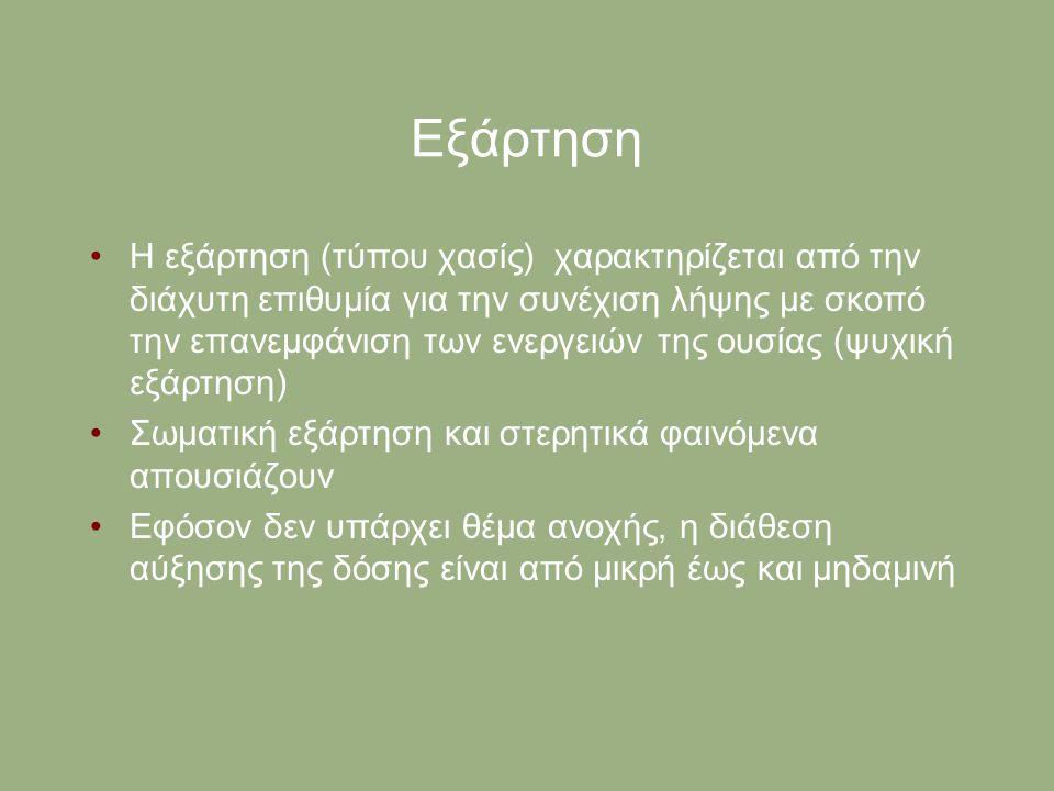 Εξάρτηση Η εξάρτηση (τύπου χασίς) χαρακτηρίζεται από την διάχυτη επιθυμία για την συνέχιση λήψης με σκοπό την επανεμφάνιση των ενεργειών της ουσίας (ψ