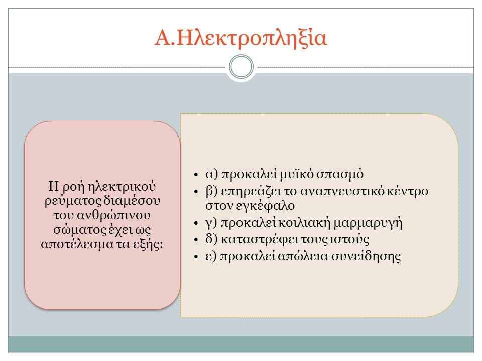 Α.Ηλεκτροπληξία α) προκαλεί μυϊκό σπασμό β) επηρεάζει το αναπνευστικό κέντρο στον εγκέφαλο γ) προκαλεί κοιλιακή μαρμαρυγή δ) καταστρέφει τους ιστούς ε) προκαλεί απώλεια συνείδησης Η ροή ηλεκτρικού ρεύματος διαμέσου του ανθρώπινου σώματος έχει ως αποτέλεσμα τα εξής: