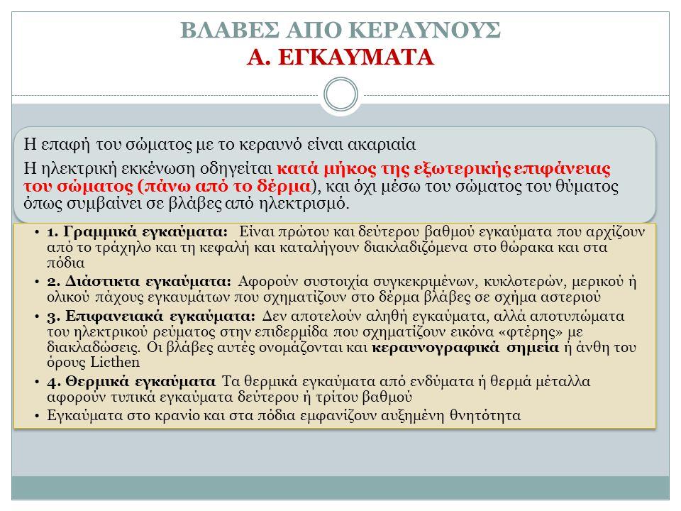 ΒΛΑΒΕΣ ΑΠΟ ΚΕΡΑΥΝΟΥΣ Α. ΕΓΚΑΥΜΑΤΑ