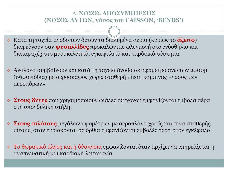 Α. ΝΟΣΟΣ ΑΠΟΣΥΜΠΙΕΣΗΣ (ΝΟΣΟΣ ΔΥΤΩΝ, νόσος του CAISSON, 'BENDS')  Κατά τη ταχεία άνοδο των δυτών τα διαλυμένα αέρια (κυρίως το άζωτο) διαφεύγουν σαν φ