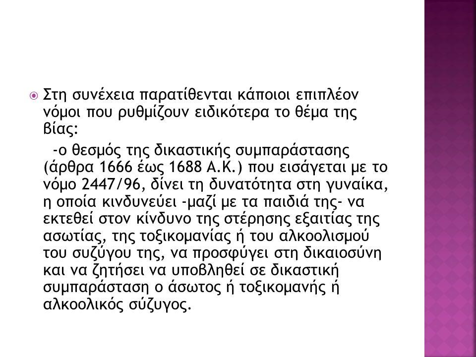  Στη συνέχεια παρατίθενται κάποιοι επιπλέον νόμοι που ρυθμίζουν ειδικότερα το θέμα της βίας: -ο θεσμός της δικαστικής συμπαράστασης (άρθρα 1666 έως 1