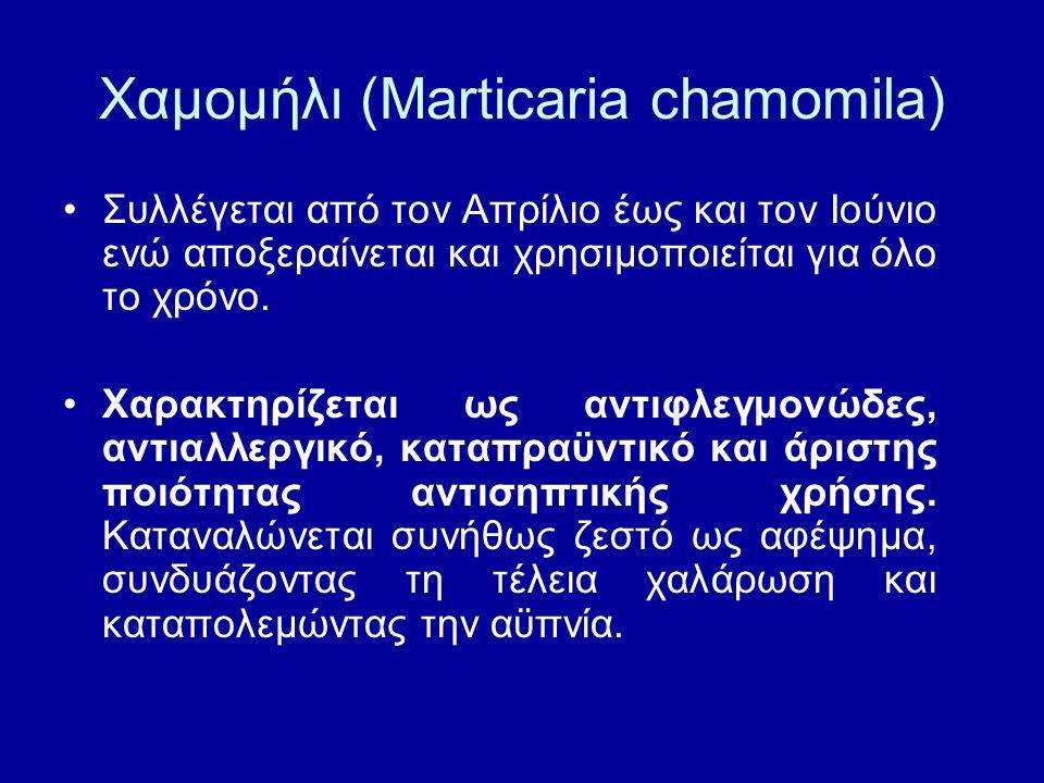 Χαμομήλι (Marticaria chamomila) Συλλέγεται από τον Απρίλιο έως και τον Ιούνιο ενώ αποξεραίνεται και χρησιμοποιείται για όλο το χρόνο. Χαρακτηρίζεται ω