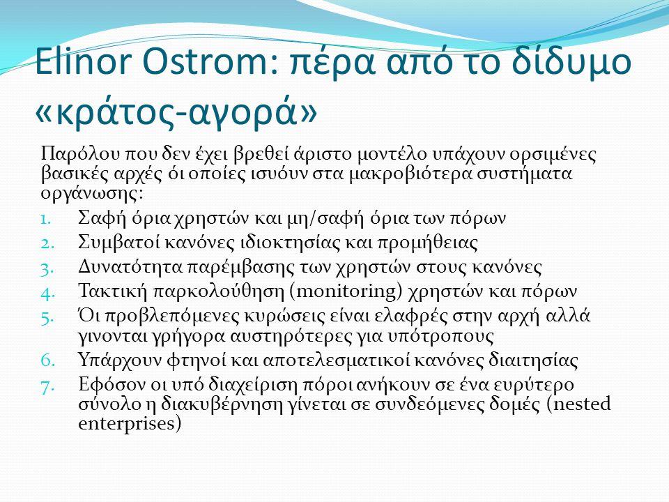 Elinor Ostrom: πέρα από το δίδυμο «κράτος-αγορά» Παρόλου που δεν έχει βρεθεί άριστο μοντέλο υπάχουν ορσιμένες βασικές αρχές όι οποίες ισυόυν στα μακροβιότερα συστήματα οργάνωσης: 1.