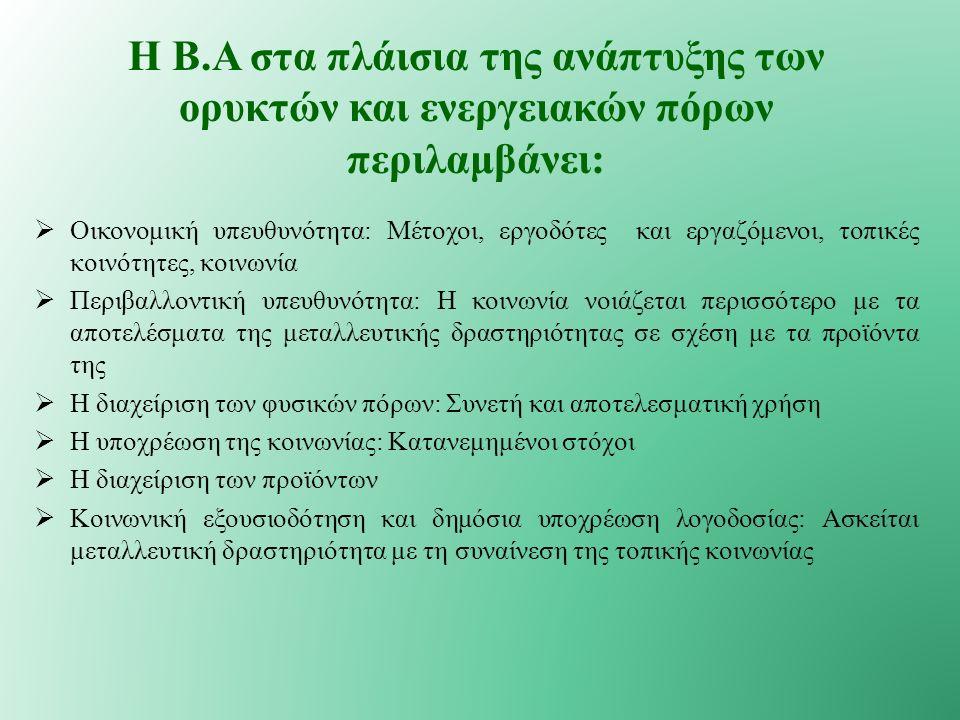  Οικονομική υπευθυνότητα: Μέτοχοι, εργοδότες και εργαζόμενοι, τοπικές κοινότητες, κοινωνία  Περιβαλλοντική υπευθυνότητα: Η κοινωνία νοιάζεται περισσότερο με τα αποτελέσματα της μεταλλευτικής δραστηριότητας σε σχέση με τα προϊόντα της  Η διαχείριση των φυσικών πόρων: Συνετή και αποτελεσματική χρήση  Η υποχρέωση της κοινωνίας: Κατανεμημένοι στόχοι  Η διαχείριση των προϊόντων  Κοινωνική εξουσιοδότηση και δημόσια υποχρέωση λογοδοσίας: Ασκείται μεταλλευτική δραστηριότητα με τη συναίνεση της τοπικής κοινωνίας Η Β.Α στα πλάισια της ανάπτυξης των ορυκτών και ενεργειακών πόρων περιλαμβάνει: