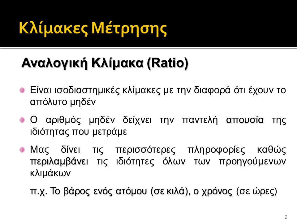 9 Αναλογική Κλίμακα (Ratio) Είναι ισοδιαστημικές κλίμακες με την διαφορά ότι έχουν το απόλυτο μηδέν απουσία Ο αριθμός μηδέν δείχνει την παντελή απουσία της ιδιότητας που μετράμε περιλαμβάνει Μας δίνει τις περισσότερες πληροφορίες καθώς περιλαμβάνει τις ιδιότητες όλων των προηγούμενων κλιμάκων π.χ.Το βάρος ενός ατόμου (σε κιλά), ο χρόνος π.χ.