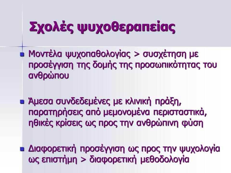 Σχολές ψυχοθεραπείας Μοντέλα ψυχοπαθολογίας > συσχέτηση με προσέγγιση της δομής της προσωπικότητας του ανθρώπου Μοντέλα ψυχοπαθολογίας > συσχέτηση με