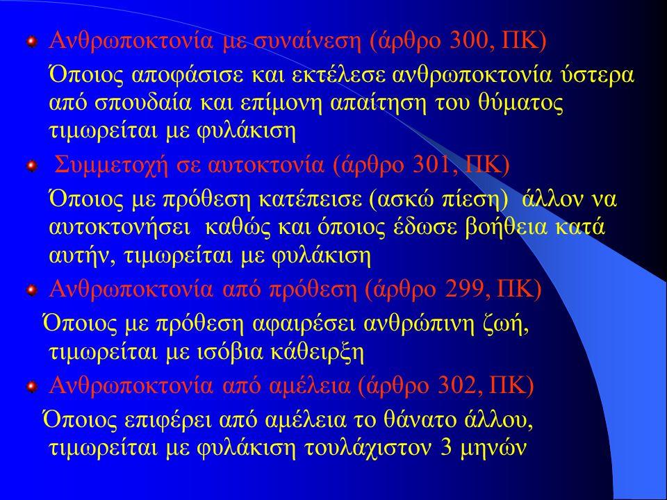 Ανθρωποκτονία με συναίνεση (άρθρο 300, ΠΚ) Όποιος αποφάσισε και εκτέλεσε ανθρωποκτονία ύστερα από σπουδαία και επίμονη απαίτηση του θύματος τιμωρείται