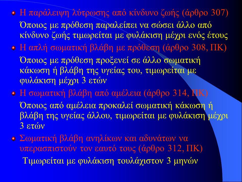Η παράλειψη λύτρωσης από κίνδυνο ζωής (άρθρο 307) Όποιος με πρόθεση παραλείπει να σώσει άλλο από κίνδυνο ζωής τιμωρείται με φυλάκιση μέχρι ενός έτους