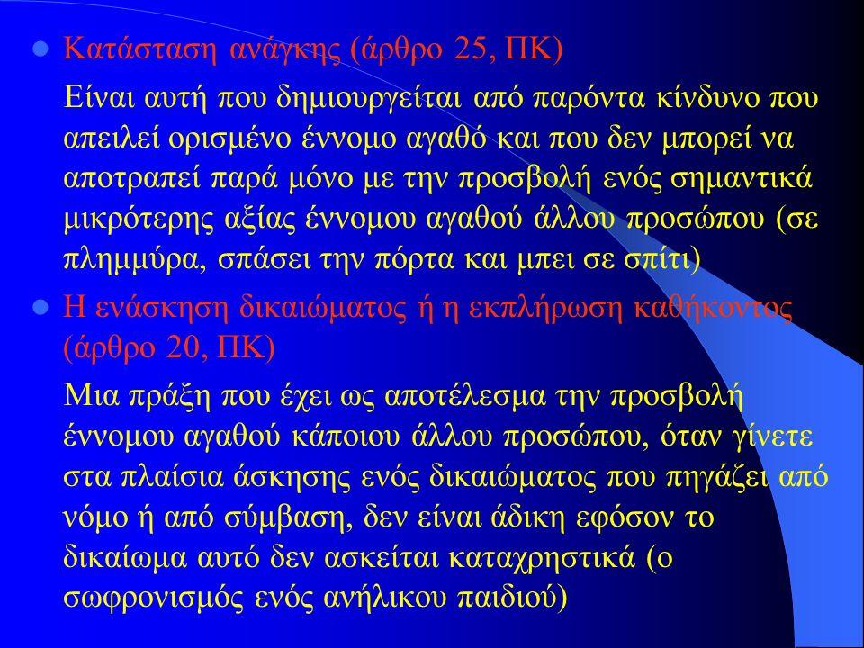 Κατάσταση ανάγκης (άρθρο 25, ΠΚ) Είναι αυτή που δημιουργείται από παρόντα κίνδυνο που απειλεί ορισμένο έννομο αγαθό και που δεν μπορεί να αποτραπεί πα