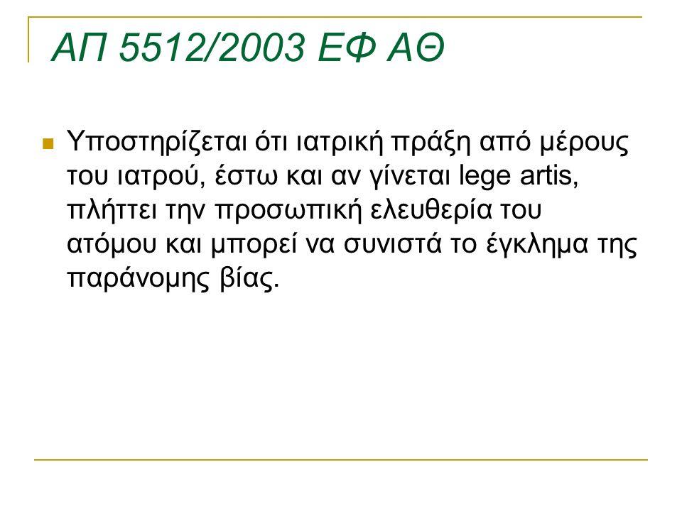 ΑΠ 5512/2003 ΕΦ ΑΘ Υποστηρίζεται ότι ιατρική πράξη από μέρους του ιατρού, έστω και αν γίνεται lege artis, πλήττει την προσωπική ελευθερία του ατόμου κ