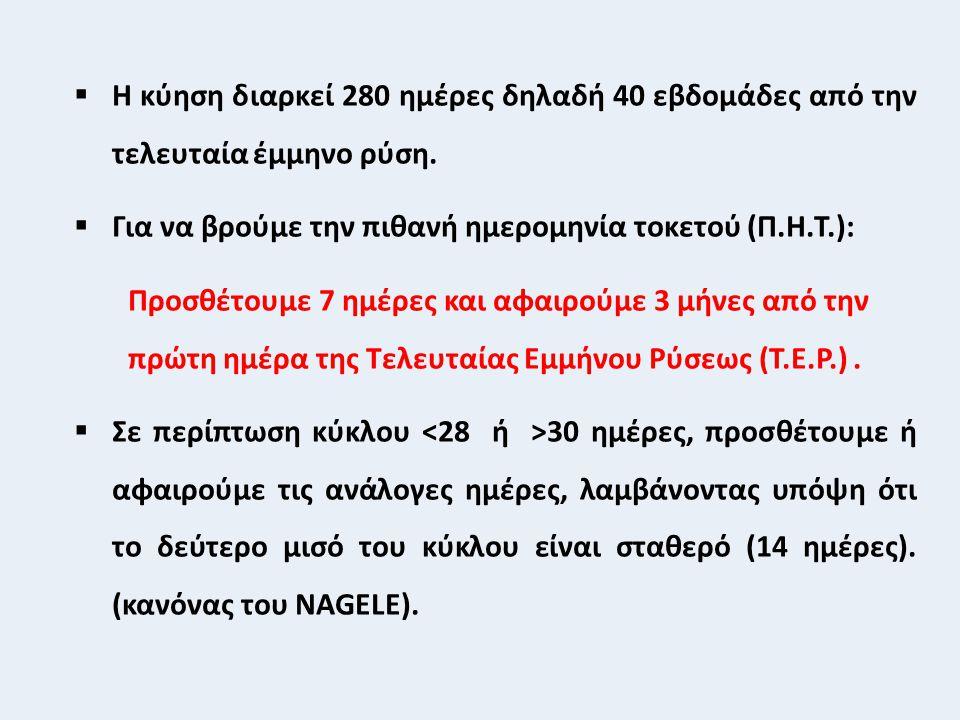  Η κύηση διαρκεί 280 ημέρες δηλαδή 40 εβδομάδες από την τελευταία έμμηνο ρύση.  Για να βρούμε την πιθανή ημερομηνία τοκετού (Π.Η.Τ.): Προσθέτουμε 7